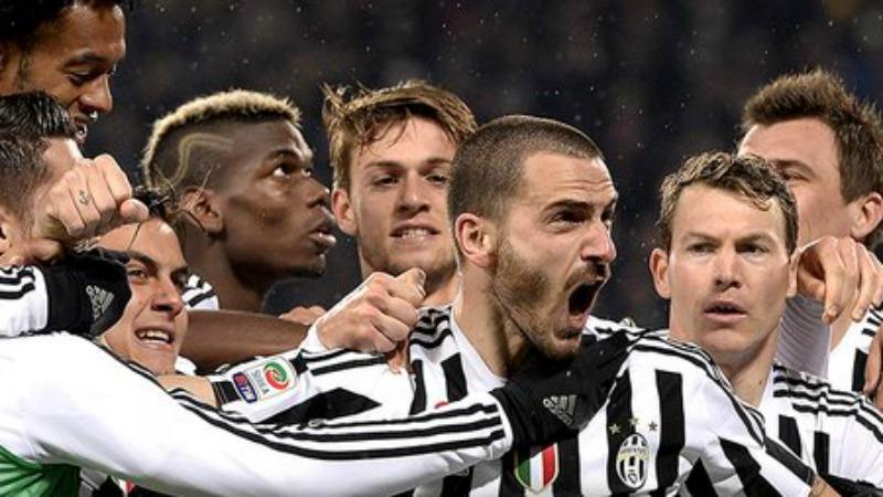 L'urlo di Bonucci dopo il gol dell'1-0 della Juve all'Inter