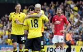 La felicità del Watford dopo la vittoria sul manchester United