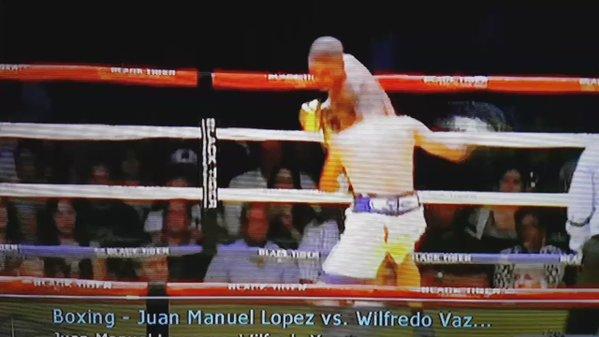 Il pugile Juan Manuel Lopez manda ko Vazquez jr e fa a pugni col secondo