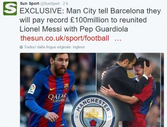 Messi, offerta da 120 milioni del Manchester City al Barcellona