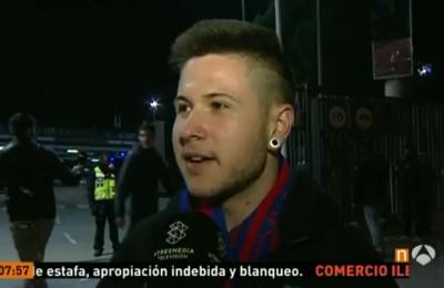 Tifoso del Barcellona lascia lo stadio sul 5-1. Sergi Roberto segna e lui esulta fuori dal Camp Nou