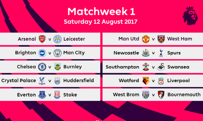 Calendario Premier League 2017-2018: programma partite di calcio prima giornata