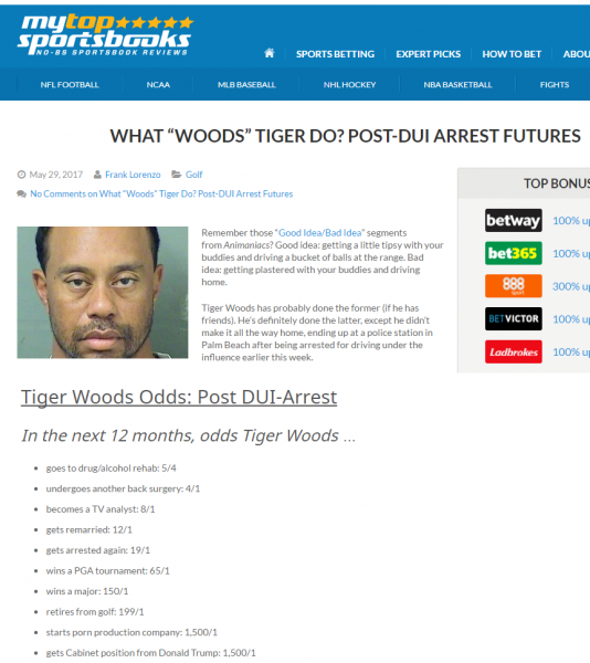 Tiger Woods le quote