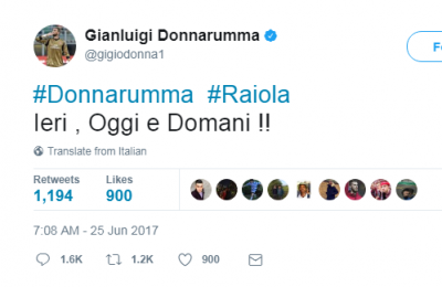 "Donnarumma su Raiola: ""Ieri, oggi e domani!!"""