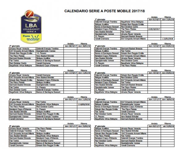 Calendario Legabasket.Ecco Il Calendario Della Serie A Di Basket 2017 18 La