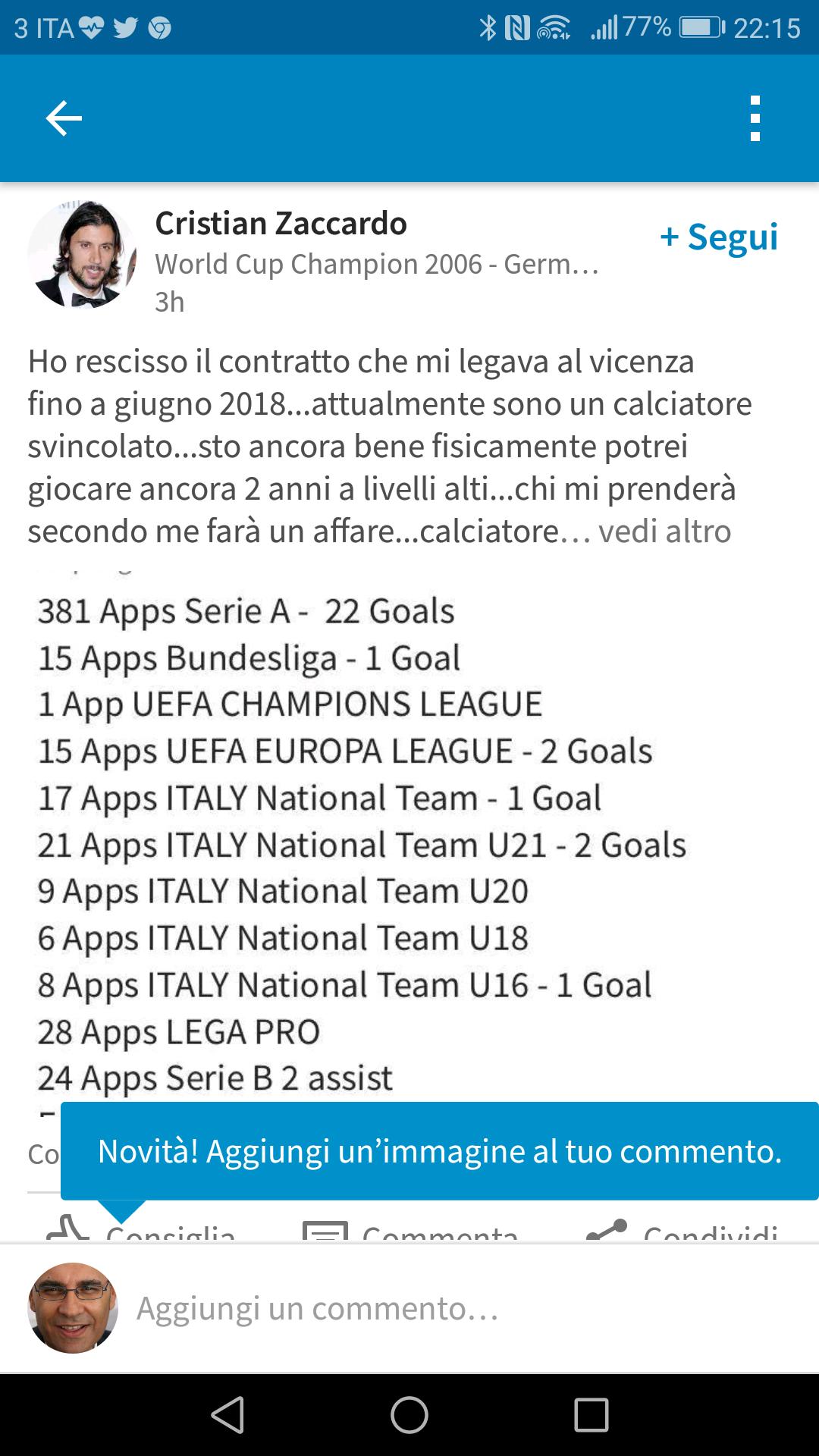Cristian Zaccardo si svincola dal Vicenza e si offre via LinkedIn