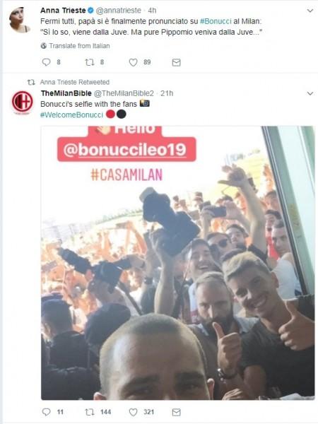 """Anna Trieste, giornalista napoletana, """"retwitta"""" il selfie di Bonucci coi nuovi tifosi"""