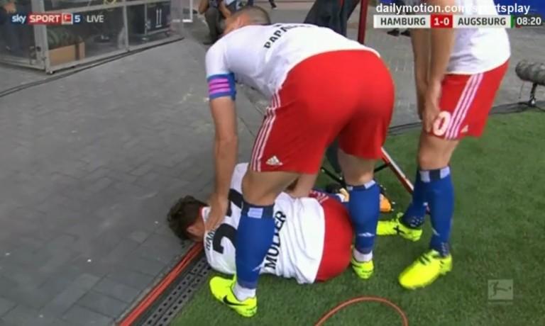 Müller dell'Amburgo segna e s'infortuna per festeggiare il goal
