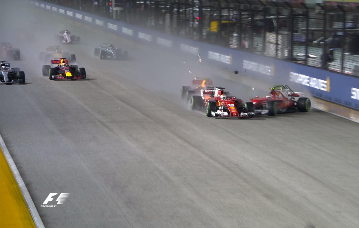 Singapore, incidente Raikkonen-Vettel al via! Out entrambe le Ferrari