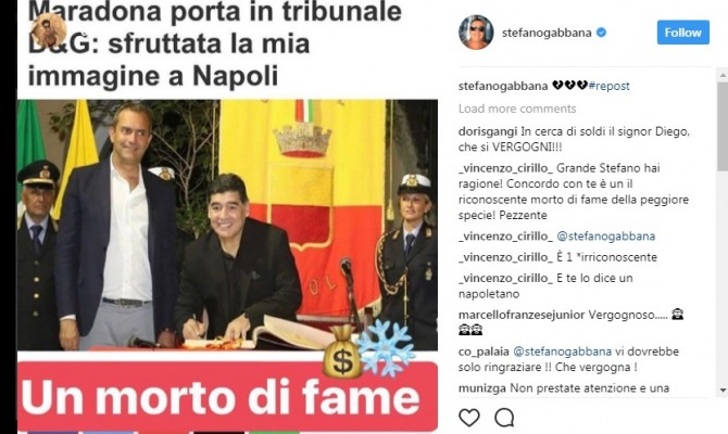 """Dolce e Gabbana contro Maradona: """"Un morto di fame"""". E Wanda Nara mette un """"like"""""""