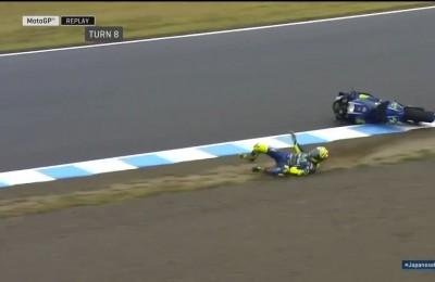 Rossi scivola nella quarta sessione di libere: riesce ad effettuare una torsione in caduta