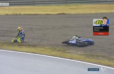 """Rossi, le parole del dopo gara di Motegi: """"Le gomme non vanno. La caduta è stata una brutta botta"""""""