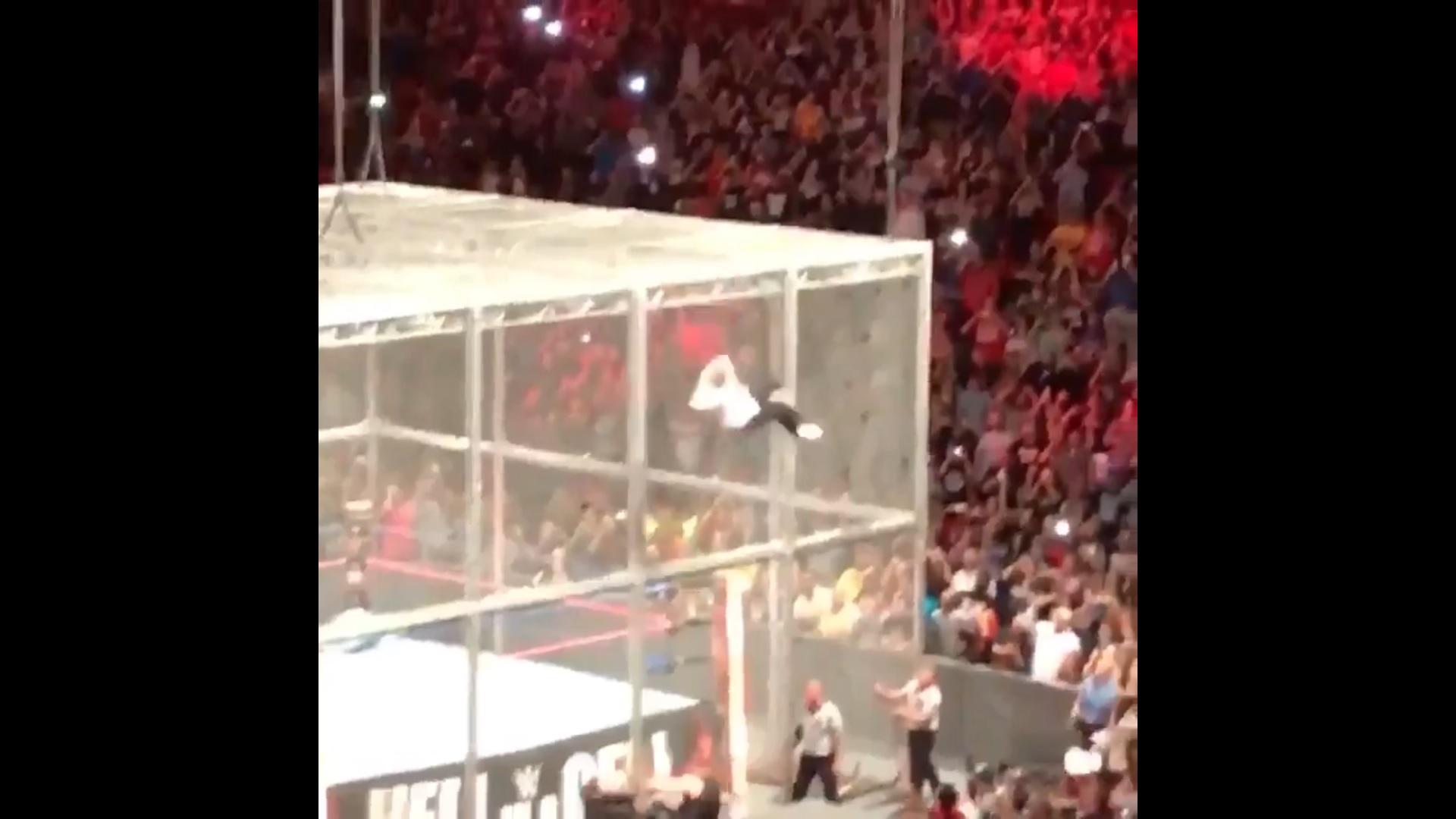 Terribile volo del wrestler dal tetto della gabbia, si rompe il bacino