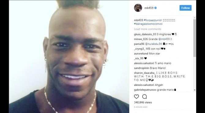 """Balotelli, il messaggio su Instagram: """"Tutti insieme per l'Italia!"""""""