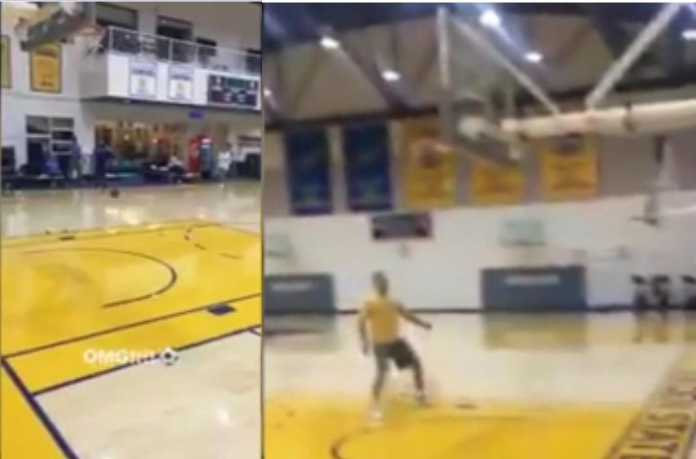 Curry dei Golden State Warriors fa canestro dalla distanza… con i piedi!