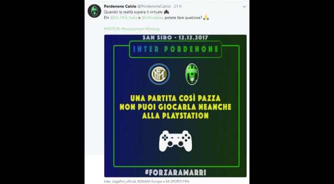 Il Pordenone sfida l'Inter in Coppa Italia e scrive alla Playstation. Che risponde così