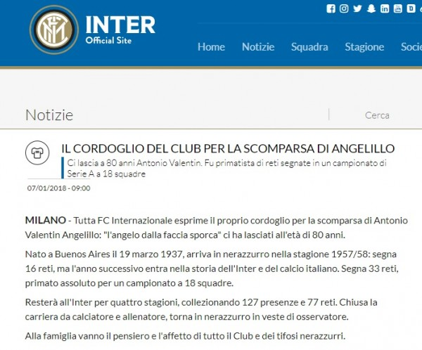Calcio, morto ex attaccante Angelillo