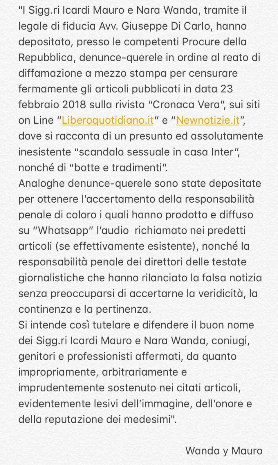 Icardi e Wanda rispondono alle fake news sullo scandalo sessuale: pubblicata la denuncia