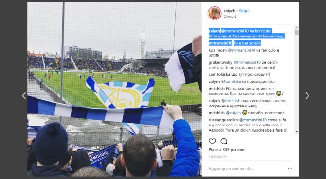 Tifoso russo dello Zenit manda Mancini a quel paese su instagram e lui gli risponde
