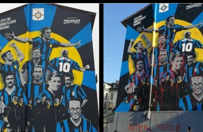 Inter, vandalizzato nella notte il murale che celebra i 110 anni. Rotto il patto di non belligeranza?