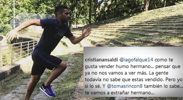 """Ansaldi del Torino avverte sui social il compagno Iago Falque: """"Ti hanno venduto, fratello"""""""