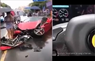 Gira video mentre guida Ferrari appena presa in concessionaria: auto distrutta