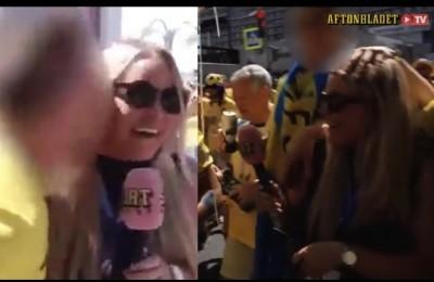 """Giornalista baciata, abbracciata e scapigliata da tifosi: """"C..zo, non si può lavorare così"""""""