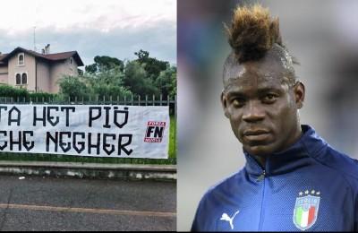 """Forza Nuova contro Balotelli, lo striscione: """"Sei più stupido che nero"""". Poi l'accusa: """"Cavalchi un personaggio"""""""