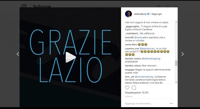 """De Vrij in un video:""""Grazie Lazio"""". Ma è valanga di insulti: """"Spero che ti rompi un crociato"""""""