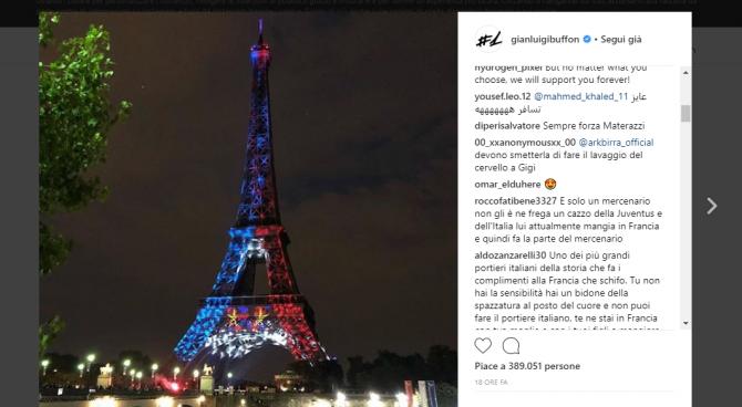 """Buffon sui social: """"Complimenti Francia"""". E i follower: """"Lecchino""""! (e tanto altro)"""