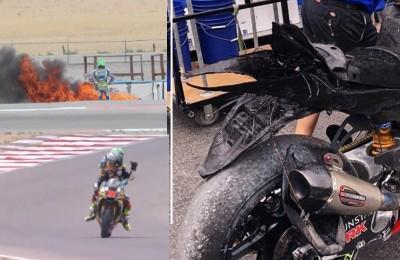 Toni Elias cade e osserva la sua Suzuki andare completamente in fiamme