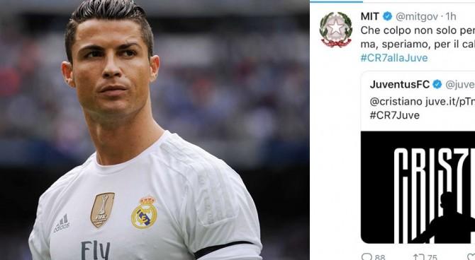 """Anche il Ministero dei Trasporti festeggia Ronaldo alla Juventus: """"Che colpo!"""". Poi le scuse"""