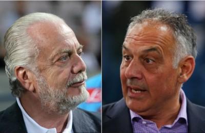 """De Laurentiis: """"L'uccellino mi ha detto che Roma e Liverpool hanno la stessa proprietà"""". Pallotta: """"Che s'è fumato?"""""""