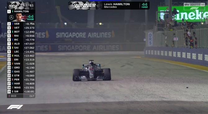 Singapore, Hamilton ipoteca il titolo. Male la Ferrari: sbaglia strategia e Vettel va in crisi di gomme